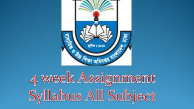 4 week assignment syllabus all subject