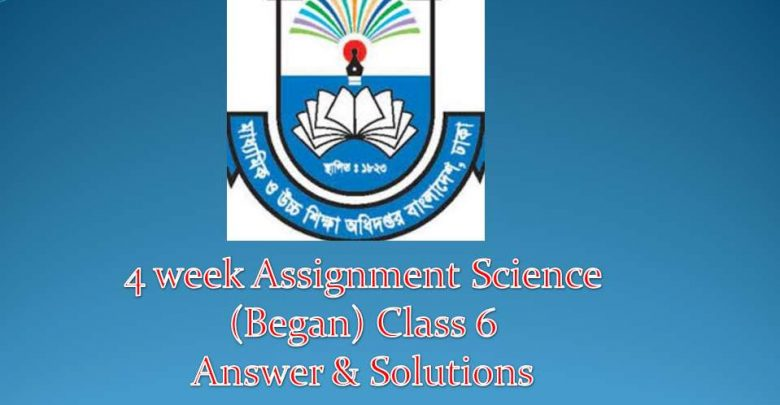 4th week Assignment Science ( began) class 6 solution