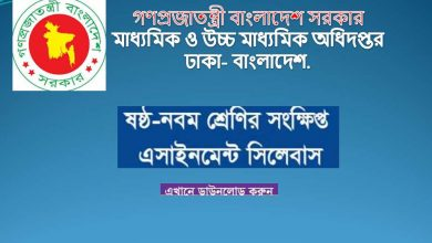Assignment Syllabus Class 9, 8, 7 & 6 NTCB Second Week Short Course - www.dshe.gov.bd