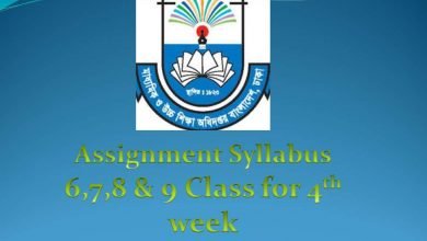 Class 6, 7, 8, & 9 4th Week Assignment Syllabus 2020 published-www.dshe.gov.bd