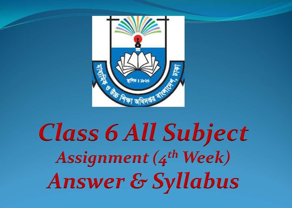 Class 6 Assignment All Subject Answer & Syllabus 4th week 2020