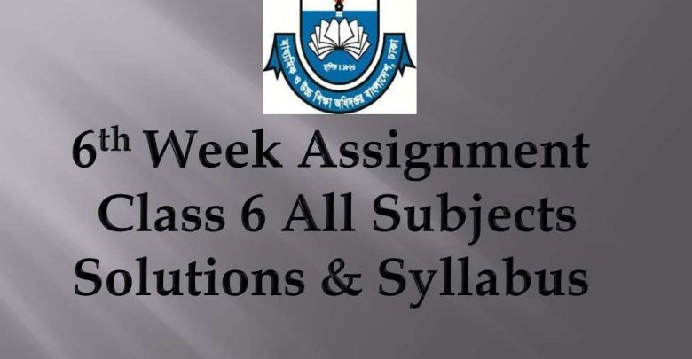 6th week Assignment Syllabus 6 class all Subject 2020