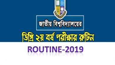 NU Degree 2nd year routine 2019