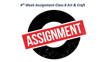 Class 8 Craft & Art Assignment Answer and Syllabus 2021 for 4th week